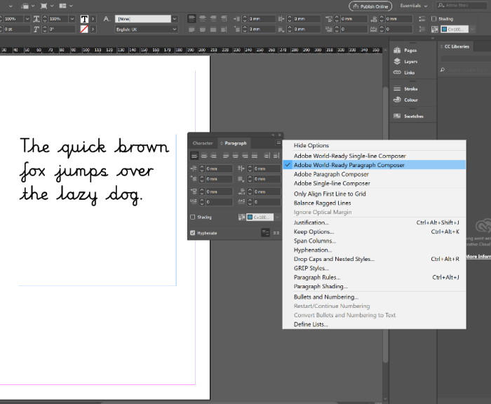 InDesign Paragraph Panel Settings for Linkpen